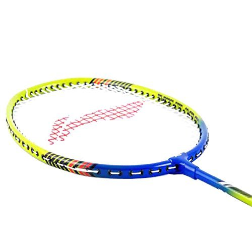 LI-NING Smash XP Badminton Racket 2018 Professional Beginner Practice Racquet with Face Cover Steel Shaft Special Edition Badminton Racket Smash (Blue/Lime Green, Pack of 2)