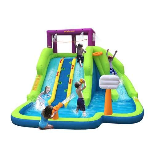 Kahuna Triple Blast Kids Outdoor Inflatable Splash Pool Backyard Water Slide ()