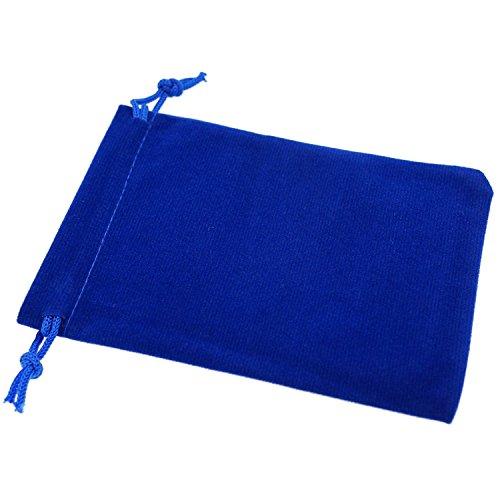 "Wuligirl 50pcs Velvet Cloth Bag 3.54x4.72"" Blue Storage Jewe"