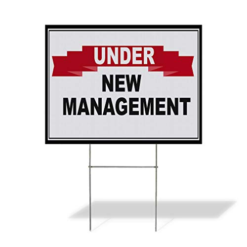 Plastic Weatherproof Yard Sign Under New Management1 Under New Management Multi-Colored Under New Management for Sale Sign Multiple Quantities Available 18inx12in One Side Print One Sign ()