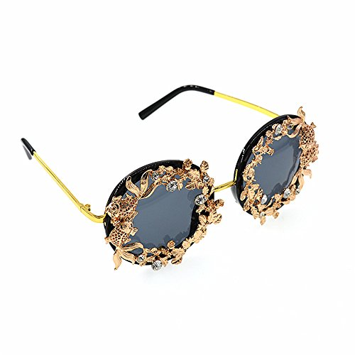 mujeres gafas protección a retro de Gafas flor mujer para de de metal color espejo UV oro de gafas clásico sol polarizadas y de sol Vintage hojas mano de conducción disp sol para hecho Lujo barrocas qUSUpvgnw