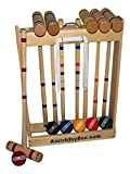 Amish-Crafted Deluxe Maple-Wood Croquet Game Set