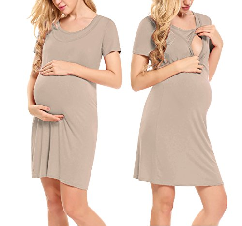 (Hotouch Women's Maternity S Dresses Mama Hort Sleeve Scoop Neck Baby Shower Dress Cappuccino)