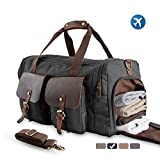 MEWAY Large Multi-Functional Canvas Overnight Bag With Shoes Compartment, Flight Travel Duffel Weekender Bag For Men (COAL BLACK, ✔Genuine Leather)