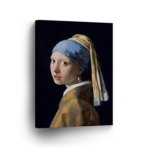 Girl with a Pearl Earring, Johannes Vermeer Classic Art Canvas Print Famous Fine Art Oil Painting Reproduction Canvas Wall Art Home Decor Stretched Ready to Hang-%100 Made in The USA- - Mother Pearl Of Monet