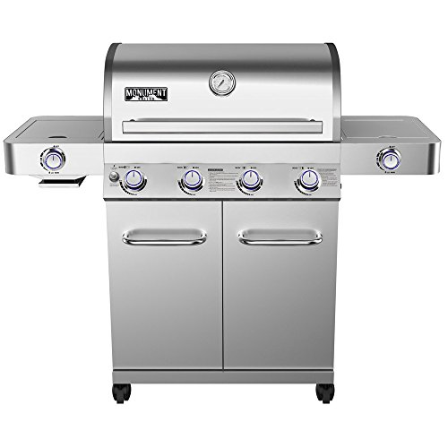 4-Burner Propane Gas Grill Stainless With LED Controls Side