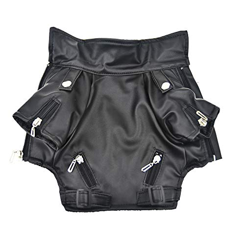 FLAdorepet Cool Dog Leather Jacket Coat Winter Warm Dog Pet Clothes for Small Dog (L, Black) ()