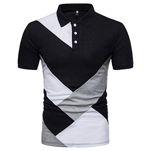 (Forthery Mens Casual Slim Fit Short Sleeve Solid Polo Shirt Summer Tops (US L = Asia XL, Black) )