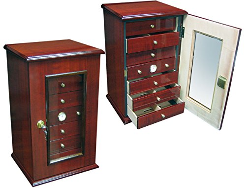7 Drawer Desk Top Cigar Humidor - Cherry Finish - 210 Capacity by Prestige Import Group