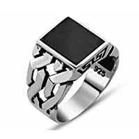 Chimoda Mens Silver Ring with Black Onyx Stone in 925 Sterling Turkish Jewelry Rings
