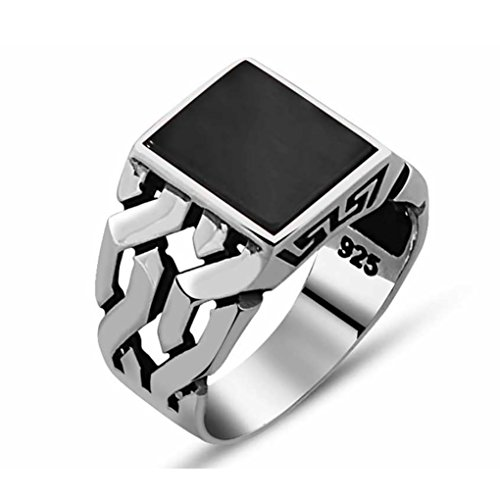 Chimoda Mens Silver Ring with Black Onyx Stone in 925 Sterling Turkish Handmade Jewelry Men's Rings (8.5)
