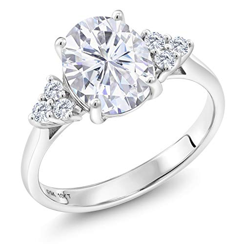 10K White Gold Solitaire w- Accent Stones Lab Grown Diamond Ring Forever Brilliant (GHI) Oval 2.10ct (DEW) Created Moissanite by Charles & Colvard (Size - Ring Gold Solitaire Diamond Accents