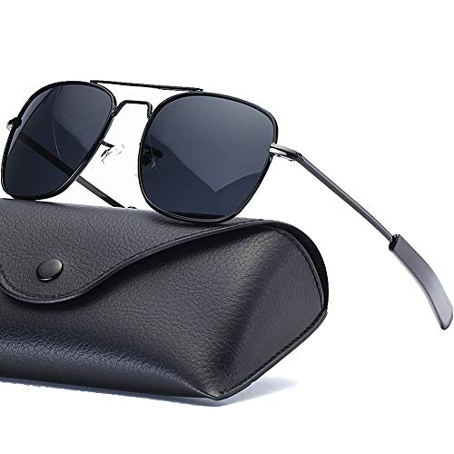Mens Aviator Sunglasses Polarized Pilot Military Shades 55mm Square Metal Frame with Bayonet Temples for Women Black Frame Black Grey Lens ()