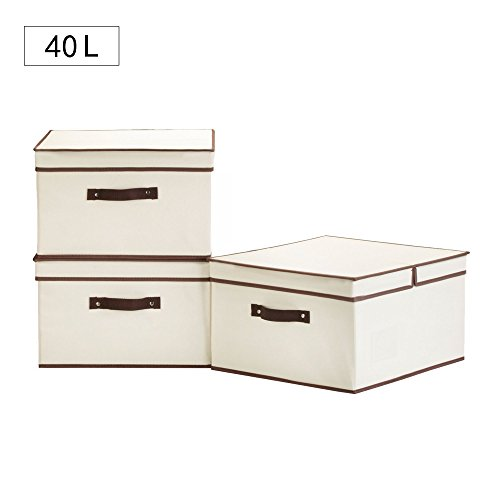 StorageWorks 40 L,Canvas Storage Box With Lid By, Foldable Closet  Organizer, Natural, Jumbo, 3 Pack