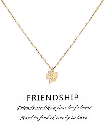 Hanloud Lucky Clover 4 Leaf Pendant Necklace Gold Charming Clover Necklace For Women Mom Friendship Jewelry