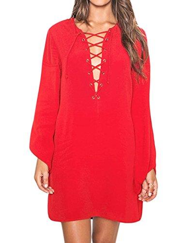 Mujer Split Cuello Manga Larga Cordones Al Frente Holgado Vestido Túnica - sintético, Rojo, 100% poliéster, Mujer, XS (GB 4)