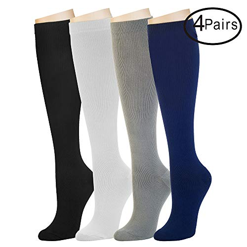 4 Pairs Compression Socks For Women and Men -- Best Athletic, Edema, Diabetic,Varicose Veins , Maternity, Travel, Flight Socks - Running, Fitness -15-20mmHg. (L/XL, Assort1) ()