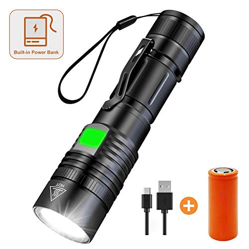 Wsky Brightest LED Tactical Flashlight, Rechargeable Battery (26650 7500mAh included), Built-in Power Bank, Zoomable, Waterproof, 5 Modes for Camping/Hiking/Cycling, Gift-giving, S3500