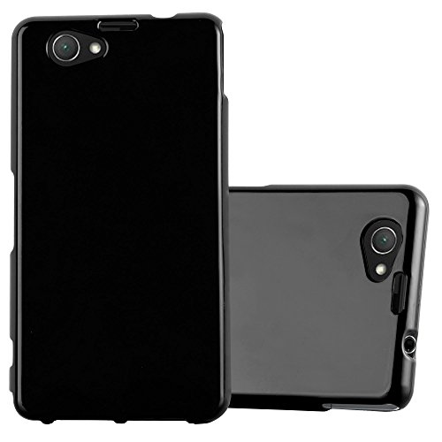 Cadorabo Case Works with Sony Xperia Z1 Compact in Jelly Black - Shockproof and Scratch Resistant TPU Silicone Cover - Ultra Slim Protective Gel Shell Bumper Back Skin