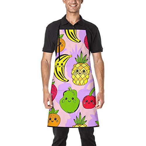 DSWODPQVE Unisex Adjustable Bib Apron with Roomy Pockets and Long Ties Cute Fruit Banana Pear Pineapple Cherry Strawberry Apron for Kitchen Crafting BBQ Drawing