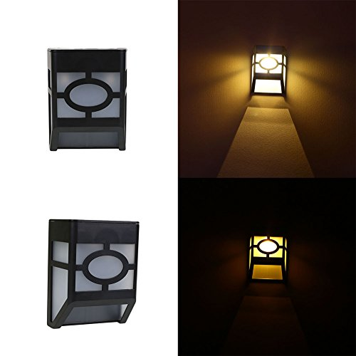 16' Exterior Wall Sconce (Gladle Solar Rechargeable Wall Sconce Lights with High Tech Motion Detection Black Exterior Waterproof Warm White LEDs)