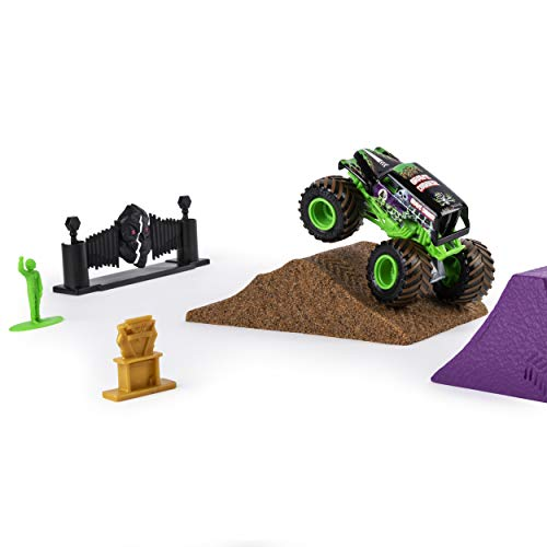 Monster Jam, Grave Digger Monster Dirt Deluxe Set, Featuring 16oz of Monster Dirt & Official 1: 64 Scale Die-Cast Truck]()