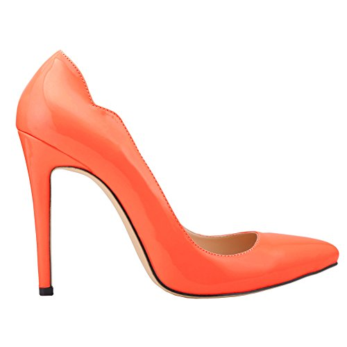 Women's Elegant Pointed-Toe Slip On High Heels OL Pumps Orange MNR1MXG3