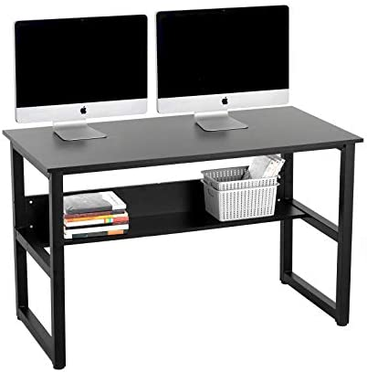 Mecor 47 Computer Desk with Bookshelf,Office Desk Study Table Workstation for Home Office Black