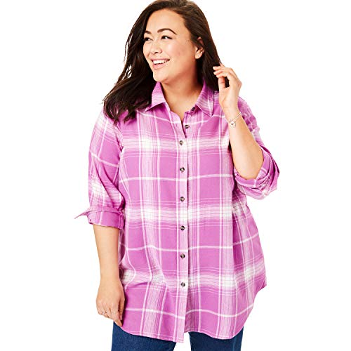 Womens Flannel Plaid (Woman Within Women's Plus Size Classic Flannel Shirt - Rosebud Plaid, M)