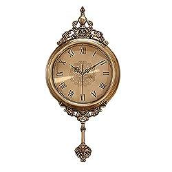 VBARV Metal European Clocks Wall Clock,Elegant, Traditional, Decorative,Wall Clock with Swinging Pendulum,for Living Room Home Fashion Retro Wall Clock