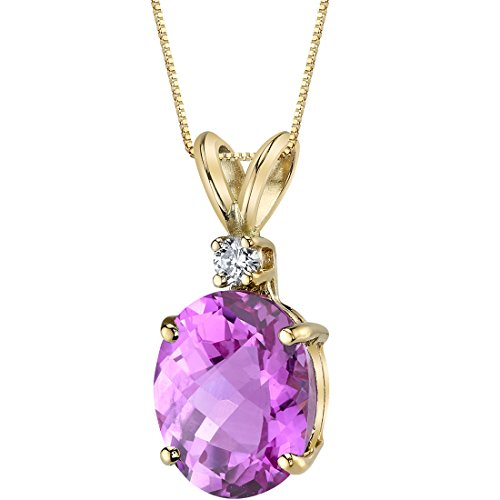 14 Karat Yellow Gold Oval Shape 3.50 Carats Created Pink Sapphire Diamond Pendant ()