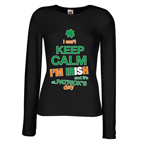 lepni.me T Shirt Women I Can't Keep Calm - I'm Irish - ST. Paddy Day Clothing (Small Black Multi Color)