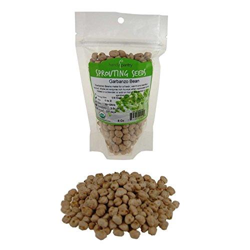 Handy Pantry Dried Garbanzo Beans- Organic- 8 Oz (1/2 Lbs) Brand - Dry Garbonzo Bean/Seeds- for Planting Seed, Gardening, Hummus, Cooking, Food Storage, - Peas Hummus Chick