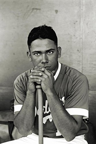 Baseball Player Leaning on Bat Vintage B&W Photo Art Print Poster 24x36 inch