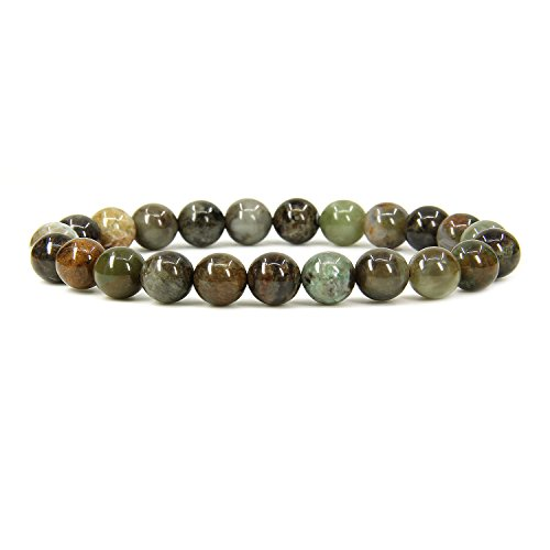 Amandastone Natural Ocean Green Jade 8mm Round Beads Stretch Bracelet 7
