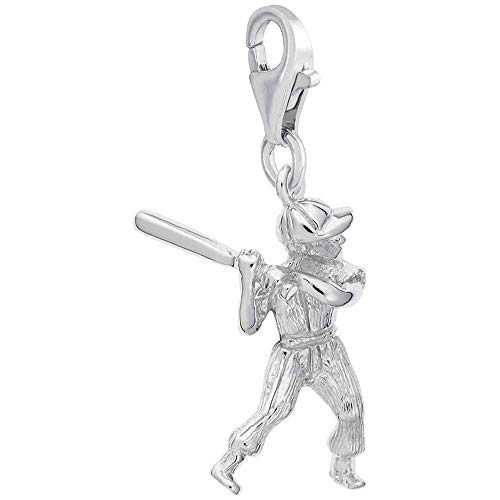 Rembrandt Charms Male Baseball Player Charm with Lobster Clasp, 14k White Gold