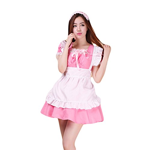 COCONEEN Anime Cosplay Costume French Maid Outfit Halloween 12-14 (French Maid Uniform Dress)
