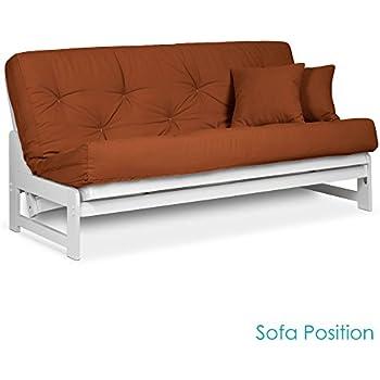 Amazon.com: Cottage Style Futon Frame, Full Size, Satin White ...