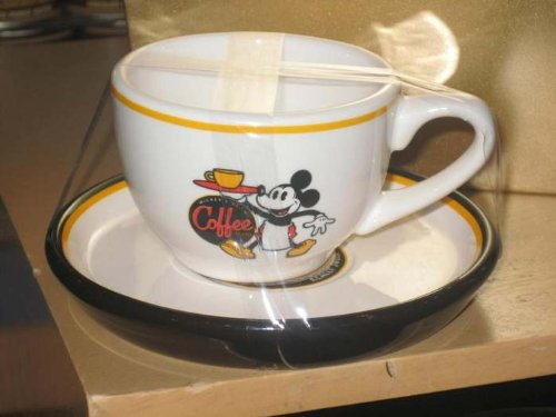 disney parks mickey mouse cup and saucer espresso set ceramic (Ceramic Mug New Coffee Cup)