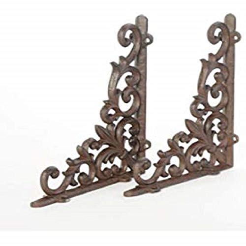 (Peppermint Store 2 Cast Iron Antique Style Heart Brackets, Garden Braces Rustic Shelf Bracket #XIPW)