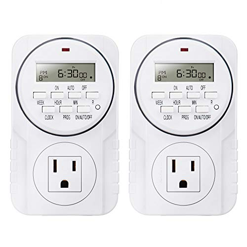 - 2 Pack Heavy Duty 7-Day Smart Digital Programmable Timer Outlet with LCD Display, Set Up to 8 Different On/Off Programs for Multipurpose