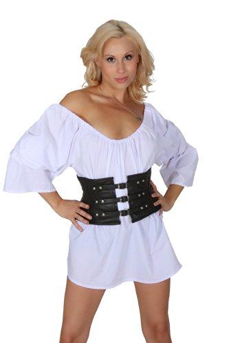 Shakespearean Costumes For Women (Authentic Genuine Leather Small Mini Steel Boned Tight Lacing Shaper Corset Belt Waist training Cincher SC80100 (44))