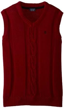 IZOD Kids Big Boys' Cable Knit Sweater Vest, Rio Red, Medium