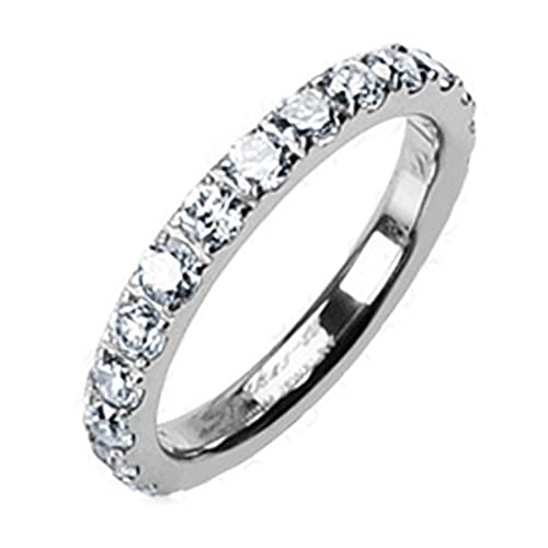 womens titanium thin eternity cz simulated diamond band ring 6 - Diamonique Wedding Rings