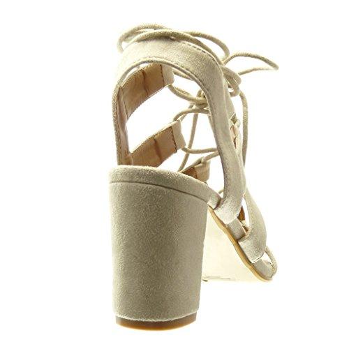 Angkorly Damen Schuhe Sandalen Mule - String Tanga - Multi-Zaum - Spitze Blockabsatz High Heel 8 cm Beige