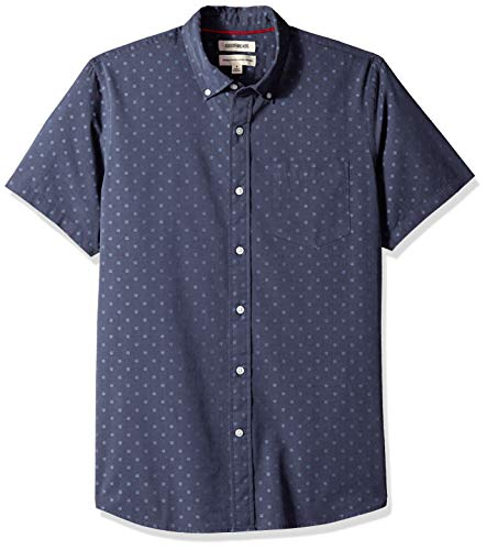 (Goodthreads Men's Standard-Fit Short-Sleeve Dobby Shirt, -navy dot, X-Large)