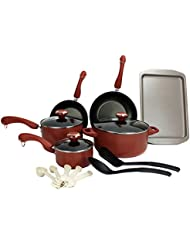 Paula Deen 15-Piece Kitchen Cookware Set Nonstick Pots Home Pans, Salmon | 21625