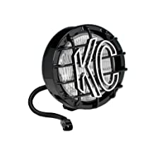 KC HiLiTES 1133 05-06 JEEP Wrangler TJ Replacement Single Fog Light, 55W Black SlimLite with Stone Guard
