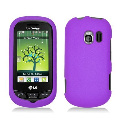 (Purple Hard Plastic Case Cover for LG VN271 Extravert w/ Rubberized texture coating)