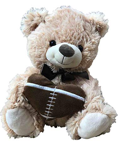 Valentine Plush Tan Teddy Bear with Heart Shaped Football Stuffed Animal Pal